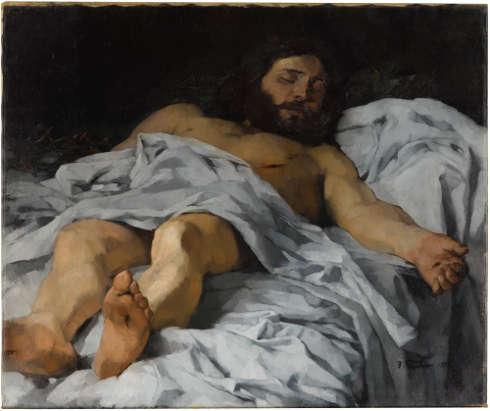 Wilhelm Trübner, Christus im Grabe, 1874, Öl-Lw, 79,5 x 95 cm (Staatsgalerie Stuttgart)