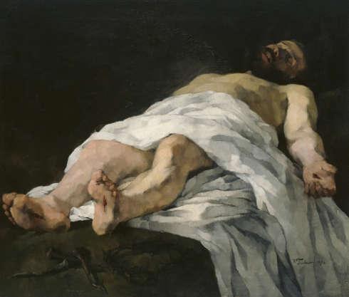 Wilhelm Trübner, Der vom Kreuz genommene Christus, 1874, Öl-Lw, 95 x 109,5 cm (Hamburger kUnsthalle)