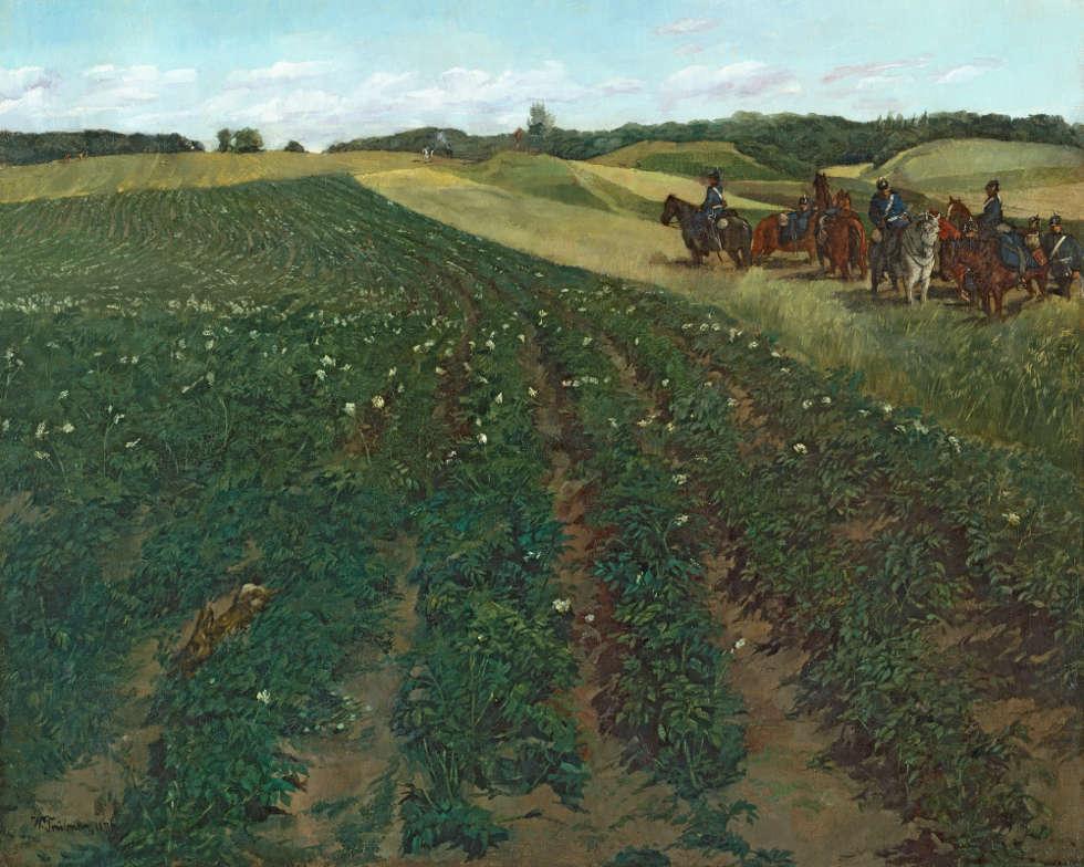 Wilhelm Trübner, Kartoffelacker bei Weßling in Oberbayern, 1876, Leinwand, 62 cm x 77 cm (Städtische Galerie im Lenbachhaus und Kunstbau München)