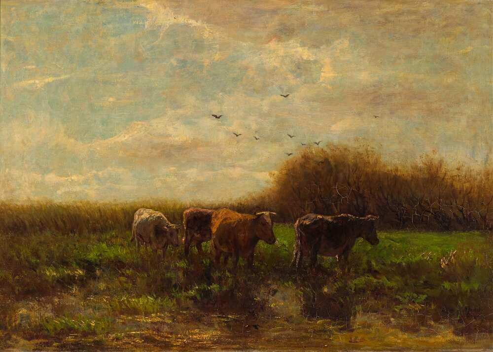 Willem Maris, Kühe am Abend, Öl auf Leinwand, 105,3 x 134 cm (Den Haag, Haags Gemeentemuseum)
