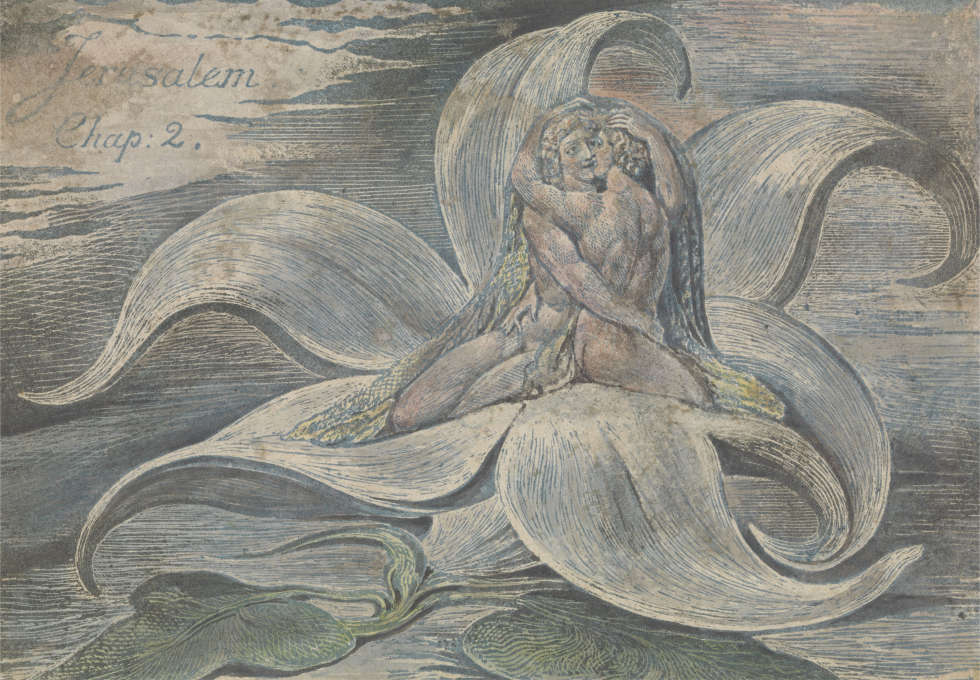 William Blake, Jerusalem, Platte 28, Probedruck, 1820, Reliefradierung mit Feder und Schwarzer Tusche, Aquarell auf weich gewebtem Papier, 11,1 x 15,9 cm (Yale Center for British Art (New Haven, USA)