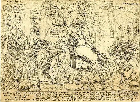 William Dent, das französische Fest der Vernunft, oder der triumphierende Paarhufer, 5. Dezember 1793 (© The Trustees of the British Museum)