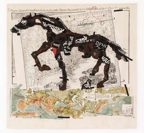 William Kentridge, Stephens Tapestry Studio, Streets of the City (Pianta topografica della Regione Abbruciata in Campania Felice), 2009, Tapisserie aus Mohair, 440 × 443 cm, Edition von 6 plus 2 Künstlerexemplare, Courtesy des Künstlers, Johannesburg, Foto: David Ballam © William Kentridge, 2018