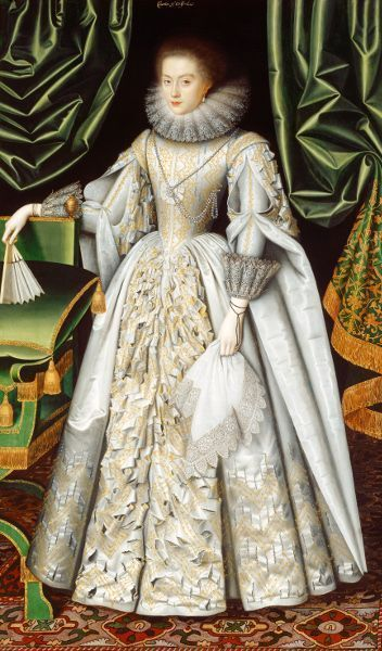 William Larkin, Portrait of Diana Cecil, later Countess of Oxford, um 1614−1618, Öl/Lw, 120 x 206 cm (Suffolk Collection, Kenwood House)