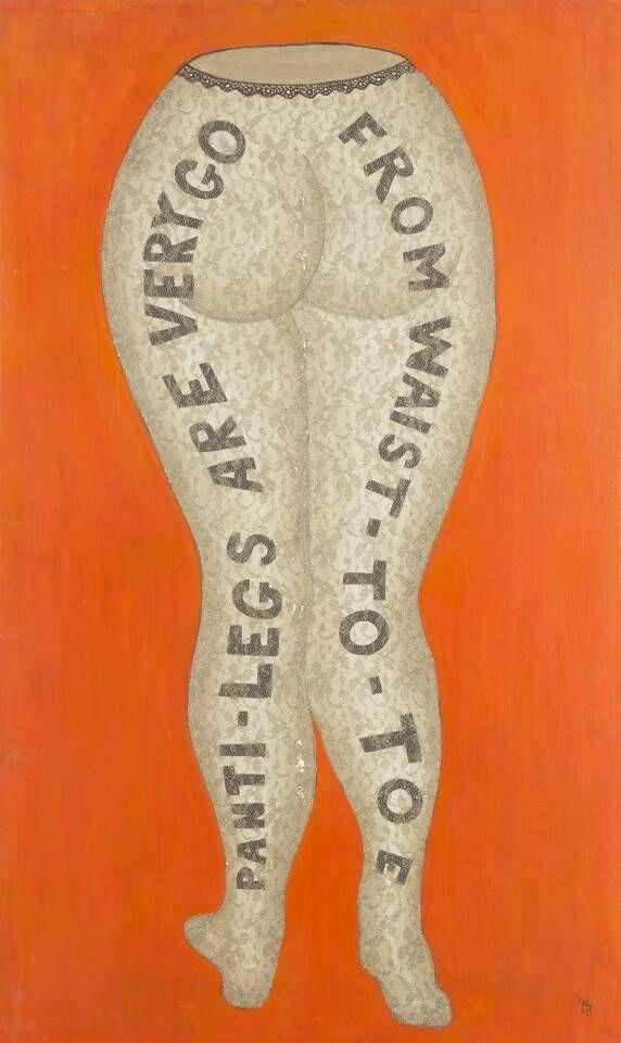 William Nelson Copley, PANTI-LEGS ARE VERY GO FROM WAIST-TO-TOE, 1962, Öl auf Leinwand, aufgeklebte Stoffspitze, 101 x 61 cm (Museum moderner Kunst Stiftung Ludwig Wien, ehemals Sammlung Hahn, Köln, erworben 1978 Photo: mumok © Claire Copley)