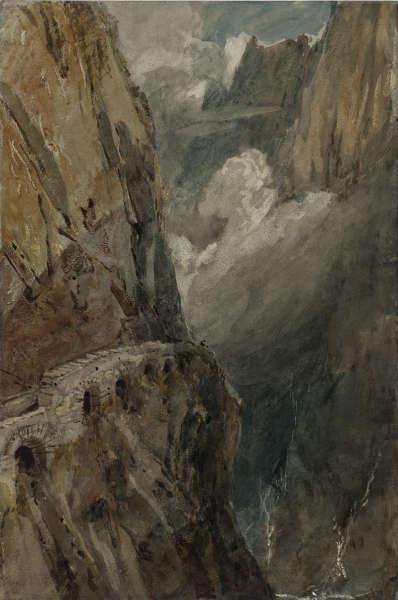 Joseph Mallord William Turner, Der Schollenen Gorge von der Teufelsbrücke. -Sankt-Gotthard-Pass, 1802, Grafit, Aquarell und Gouache auf Papier, 47 x 31.4 cm (Tate, accepted by the nation as part of the Turner Bequest 1856, © Tate, London, 2018)
