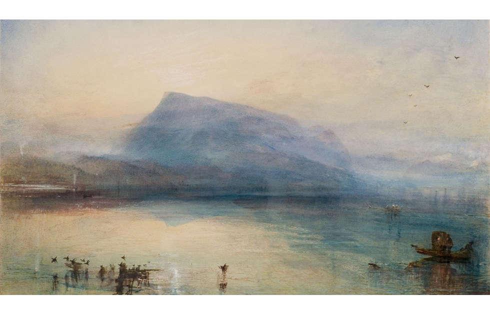Joseph Mallord William Turner, Der blaue Rigi, Vierwaldstätter See, Sonnenaufgang, 1842, Aquarell, 29,7 x 45 cm (Privatsammlung)