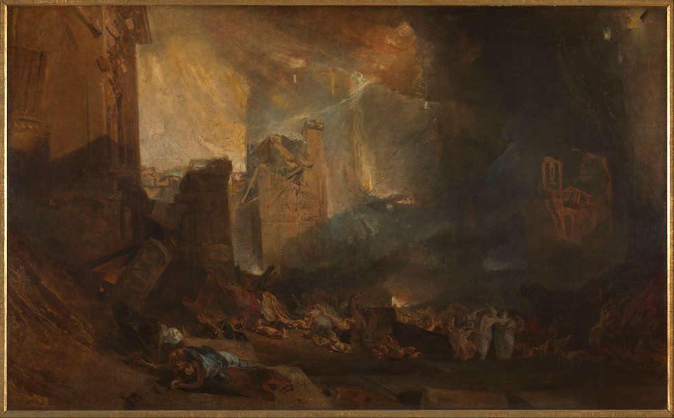 Joseph Mallord William Turner, Die Zerstörung von Sodom, vielleicht in Turners Galerie 1805 ausgestellt, Öl/Lw, 146 × 237,5 cm (Tate, aus dem Turner Vermächtnis 1856 © Tate, London, 2019)