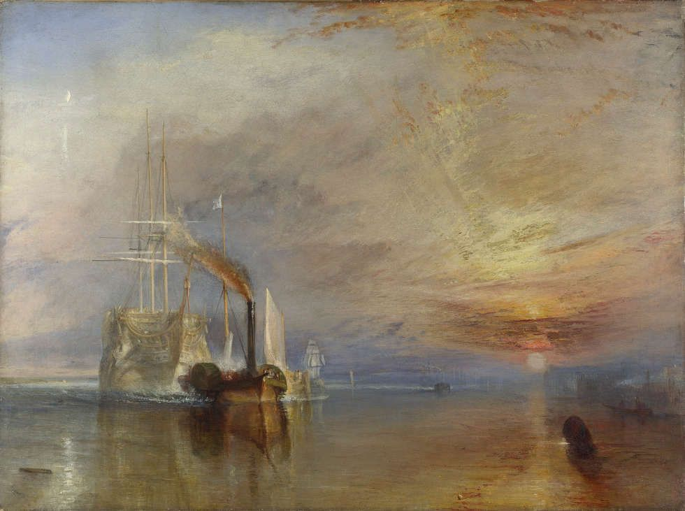 Joseph Mallord William Turner, The Fighting Temeraire [Die Kämpfende Temeraire wird zu ihrem letzten Liegeplatz geschleppt, um abgewrackt zu werden, 1838], 1838/39 (© National Gallery, London)