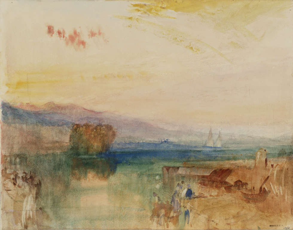 Joseph Mallord William Turner, Genf, das Jura Massiv und die Rousseau Insel, Sonnenuntergang, 1841, Aquarell und Bleistift auf Papier, 228 x 293 cm (Accepted by the nation as part of the Turner Bequest 1856, © Tate, London, 2018)