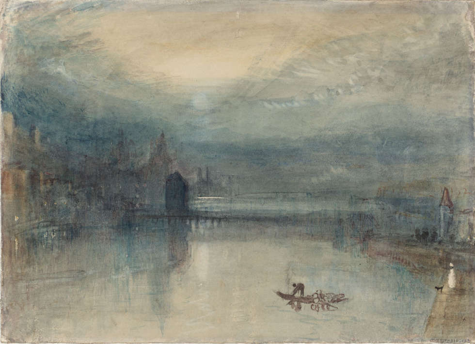 Joseph Mallord William Turner, Luzern im Mondlicht: Musterstudie, um 1842/43, Aquarell auf Papier, 23.5 x 32.5 cm (Accepted by the nation as part of the Turner Bequest 1856, © Tate, London, 2018)