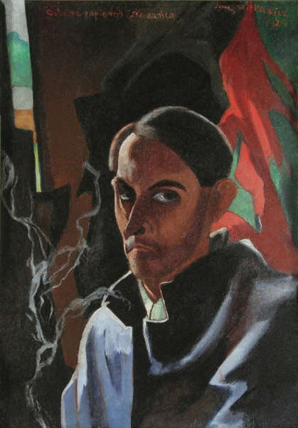 Witkacy, Die letzte Zigarette des Verurteilten (Selbstporträt), 1924, Öl auf Karton, 72 x 51 cm (Literaturmuseum Warschau © Muzeum Literatury im. Adama Mickiewicza, Warszawa / Foto: Anna Kowalska)