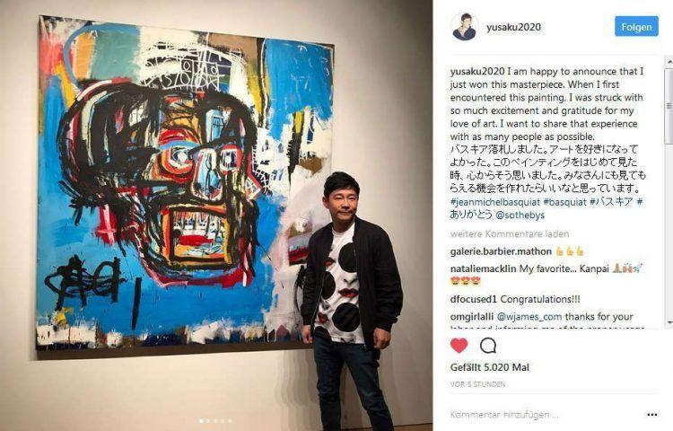 """Yusaka Maezawa mit Jean-Michel Basquiats """"Untitled"""", 18.5.2017, Quelle: Instagram."""