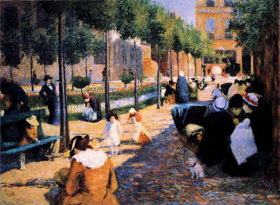 Federico Zandomeneghi, La place d'Anvers, 1880, Öl auf Leinwand, 100 x 135 cm (Galleria d'Arte Moderna Ricci Oddi, Piacenza)