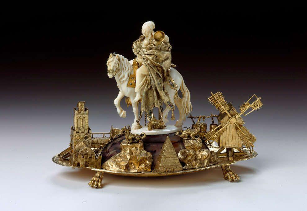 Zigeunerin zu Pferde, um 1710–1715, Elfenbeingruppe: wohl in Dresden tätiger Künstler, Juwelierarbeit: wohl Johann Christoph Neßler (Dresden © Grünes Gewölbe, SKD)