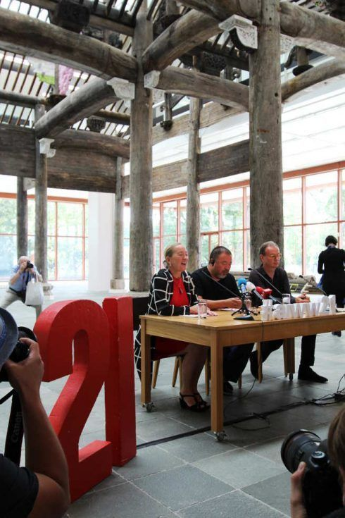 Agnes Husslein-Arco, Ai Weiwei Alfred Weidinger im 21er Haus, Foto: Alexandra Matzner.