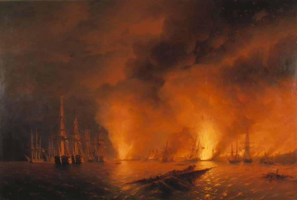 Iwan Konstantinowitsch Aiwasowski, Sinope. Die Nacht nach der Schlacht am 18. November 1853, 1853, Öl auf Leinwand, 220 x 331 cm, Zentrales Kriegsmarinemuseum, Sankt Petersburg.