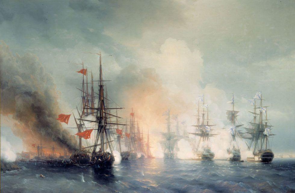 Iwan Konstantinowitsch Aiwasowski, Die Schlacht bei Sinope (Tag), 1853, Öl auf Leinwand, 223 x 332 cm, Zentrales Kriegsmarinemuseum, Sankt Petersburg.
