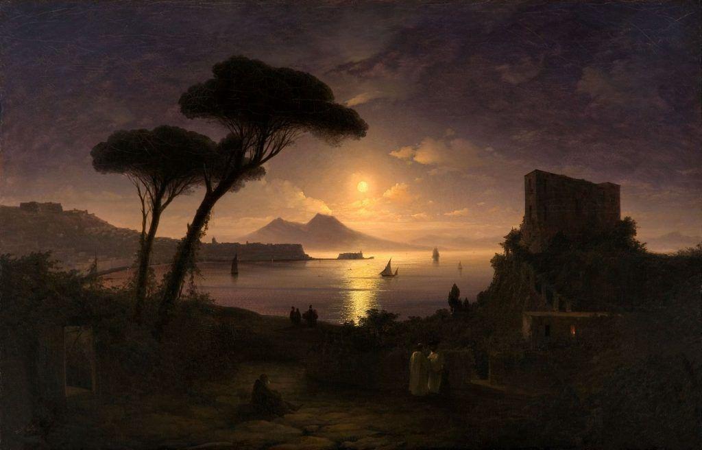 Iwan Konstantinowitsch Aiwasowski, Golf von Neapel in einer Mondnacht, 1842, Öl auf Leinwand, 91 x 142 cm, Aiwasowski-Galerie, Feodossija.