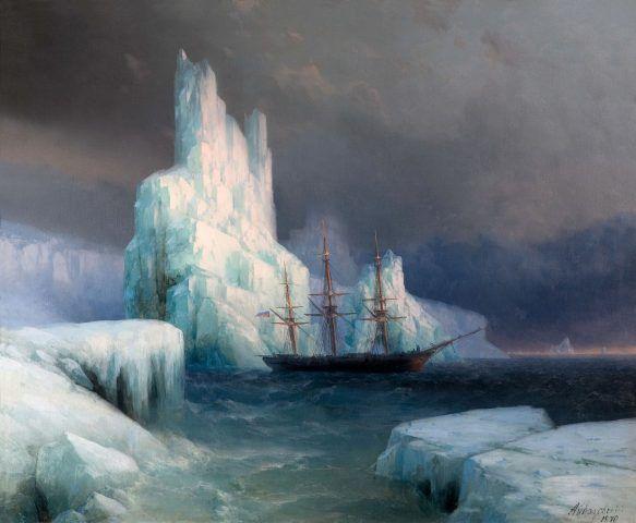 Iwan Konstantinowitsch Aiwasowski, Eisberge in der Antarktis, 1870, Öl auf Leinwand, 112 x 136 cm, Aiwasowski-Galerie, Feodossija.