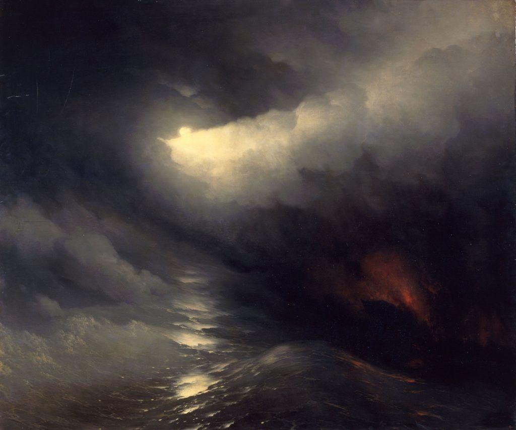 Iwan Konstantinowitsch Aiwasowski, Die Erschaffung der Welt, 1864, Öl auf Leinwand, 196 x 233 cm, Staatliches Russisches Museum, Sankt Petersburg.