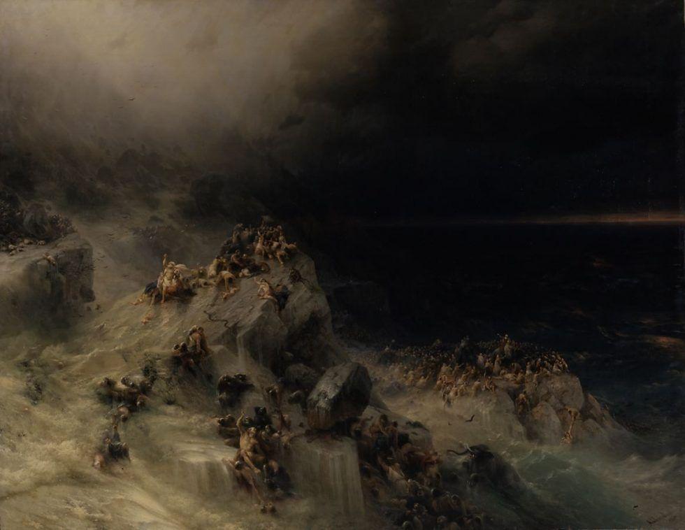 Iwan Konstantinowitsch Aiwasowski, Die Sintflut, 1864, Öl auf Leinwand, 246,5 x 319,5 cm, Staatliches Russisches Museum, Sankt Petersburg.