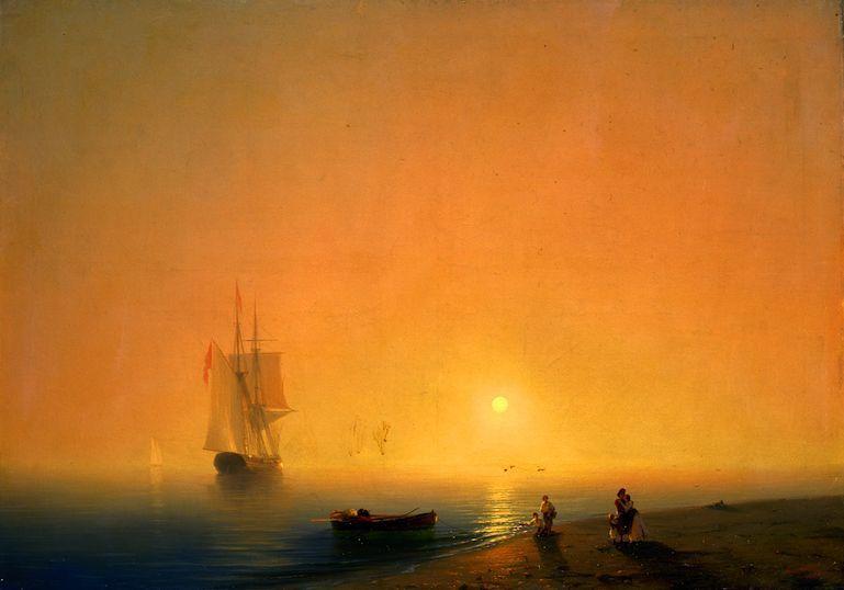 Aiwasowksi, Meeresküste, 1851, Öl auf Leinwand, 82 x 118 cm, Sankt Petersburg, Staatliches russisches Museum.