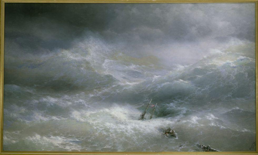 Aiwasowski, Die Woge, 1889, Öl auf Leinwand, 304 x 505 cm, Staatliches Russisches Museum, Sankt Petersburg.