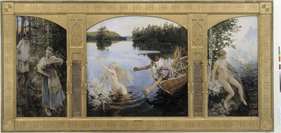 Akseli Gallen-Kallela, Die Aino-Legende, 1891, Triptychon, Öl auf Leinwand, mittleres Bild: 154 x 154 cm, Seitenteile je 154 x 77 cm, Finnland, Helsinki, Ateneum Art Museum, Finnish National Gallery © Finnish National Gallery / Central Art Archives / Photo Hannu Aaltonen.