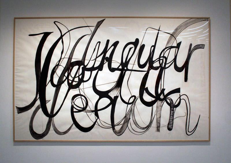 Albert Oehlen, Ohne Titel, 2008, Tusche und Kohle auf Papier, 180 x 290 cm, im Besitz des Künstlers, Installationsaufnahme: Alexandra Matzner.