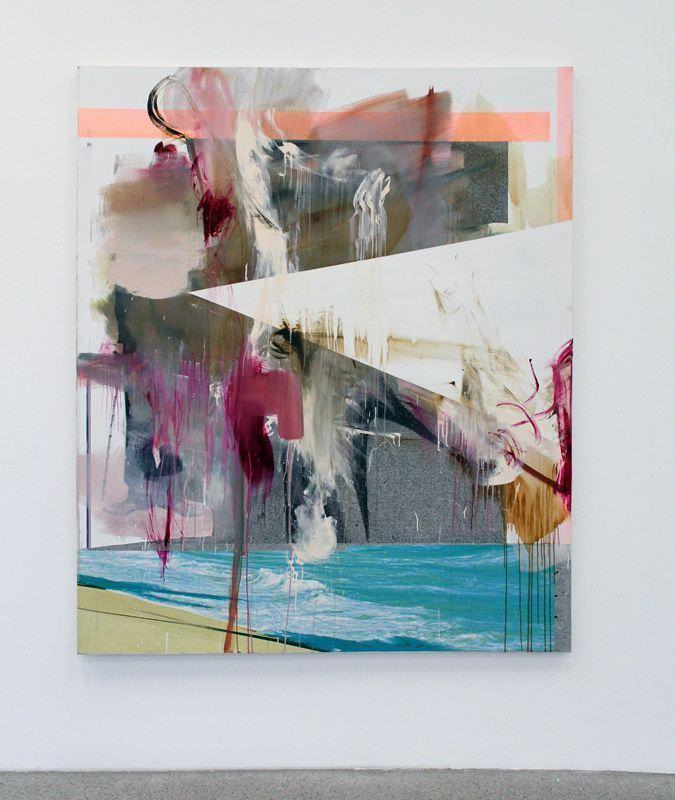 Albert Oehlen, Ohne Titel, 2008, Öl und Papier auf Leinwand, 200 x 170 cm, Sammlung Markus Oehlen, Installationsaufnahme: Alexandra Matzner.