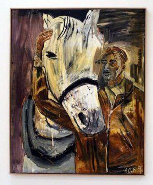 Albert Oehlen, Selbstporträt mit Pferd, 1985, Öl auf Leinwand, 160 x 130 cm, im Besitz des Künstlers, Installationsaufnahme: Alexandra Matzner.