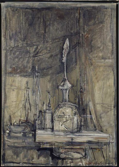 Alberto Giacometti, L'Atelier [Das Atelier], 1950, Öl auf Leinwand, 65,4 x 46,4 cm (Privatsammlung Schweiz © Succession Alberto Giacometti / 2016 ProLitteris, Zürich)