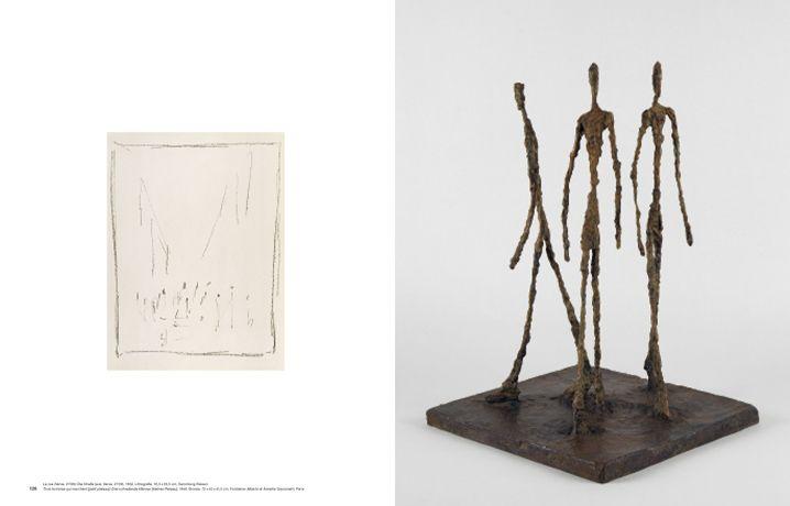Alberto Giacometti, Der Ursprung des Raumes (Hatje Cantz), S. 126-127 (Die Straße, 1952 und Drei schreitende Männer (kleines Platteau), 1948).