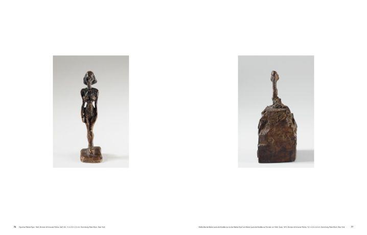 Alberto Giacometti, Der Ursprung des Raumes (Hatje Cantz), S. 76-77 (Kleine Figur, 1949 und Kleiner Kopf von Marie-Laure de Noailles auf Sockel, um 1946).