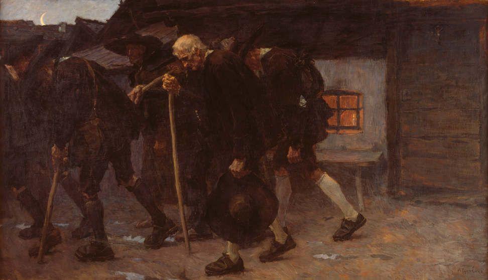 Albin Egger-Lienz, Nach dem Friedensschluss, 1902, 191 x 330,5 cm © Belvedere.