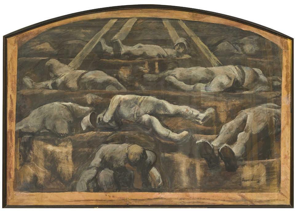 """Albin Egger-Lienz, Tote Soldaten, Weltkrieg 1914-1918, (Entwurf zu """"Totenopfer""""), 1918-23, Mischtechnik auf Papier auf Leinwand, 107 x 152 © Museum der Moderne Kärnten."""
