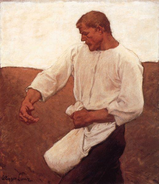 Albin Egger-Lienz, Der Sämann, aus Sämann und Teufel, 1908, 126 x 111,3 cm © Leopold Museum, Wien.