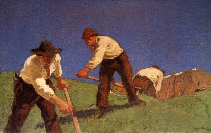 Albin Egger-Lienz, Die Bergmäher, erste Fassung 1907, 94,3 x 149,7 cm © Leopold Museum, Wien.