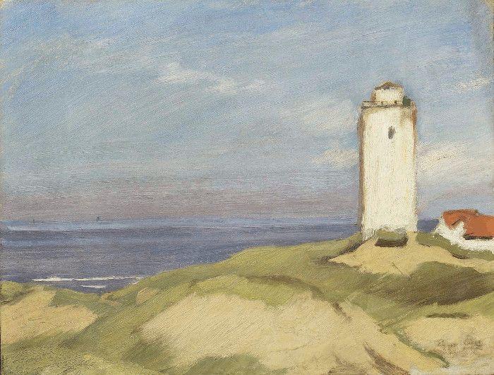 Albin Egger-Lienz, Katwijk. Der Leuchtturm, 1913, 31,5 x 40,7 cm © Leopold Museum, Wien.