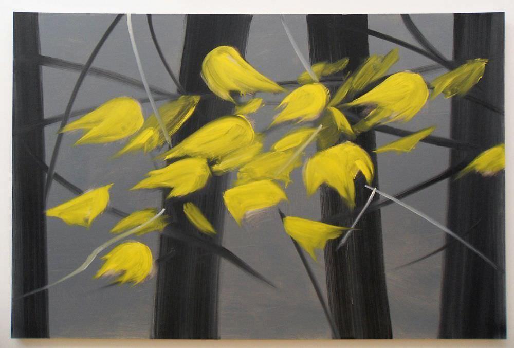 Alex Katz, Yellow Leaves 5 (2007), Öl auf Leinwand, 122 x 183 cm; Foto: Alexandra Matzner