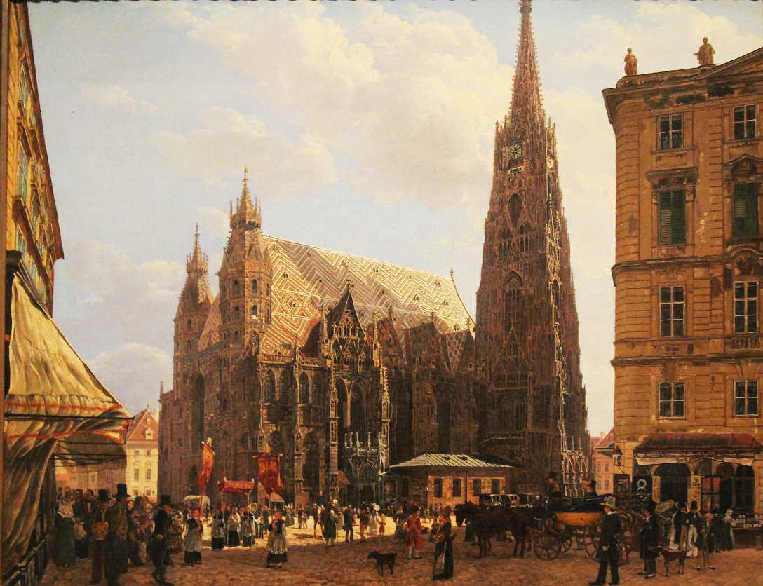 Rudolf von Alt, Der Stephansdom, 1832, Öl auf Leinwand, 46 × 57,5 cm, Bez. u. l.: Rudolph Alt 1832 (Belvedere, Wien, Inv.-Nr. 2081)