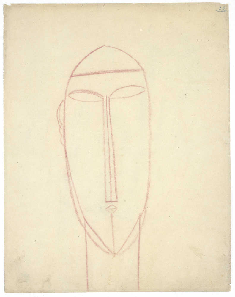 Amedeo Modigliani, Frontaler langer Kopf, um 1914/15