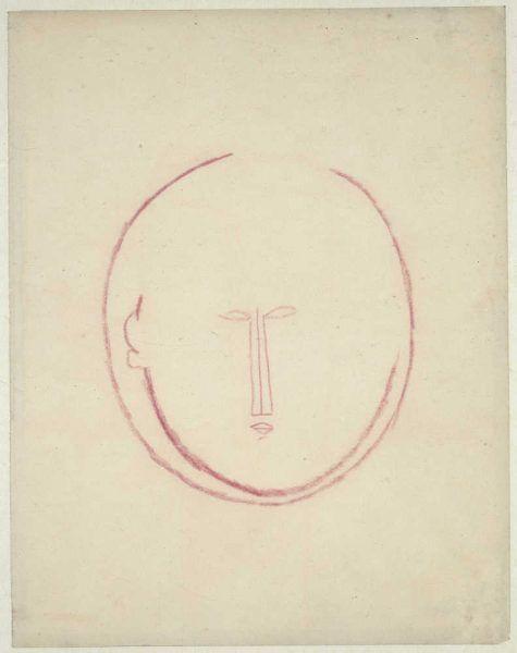 Amedeo Modigliani, Frontaler runder Kopf, um 1914/15