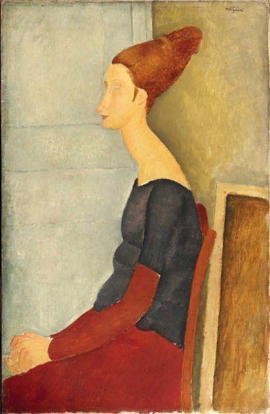 Amedeo Modigliani, Porträt von Jeanne Hébuterne (Jeanne Hébuterne au henné), 1918, Öl auf Leinwand, 100 x 65 cm, Signiert oben rechts (Pinacothèque de Paris)