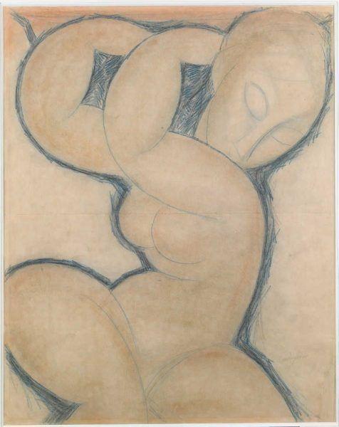 Amedeo Modigliani, Karyatide (blau), um 1913, Blauer Buntstift auf Papier, 56,5 x 45 cm (© Pinacothèque de Paris)