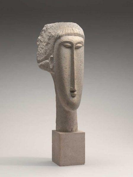 Amedeo Modigliani, Kopf einer Frau, 1910/1911, Kalkstein, 65,2 x 19 x 24,8 cm (Chester Dale Collection, Washington National Gallery of Art, Washington, 1963.10.241)
