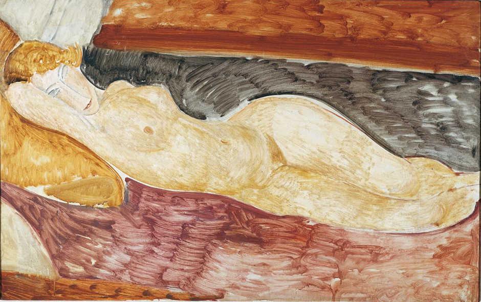 Amedeo Modigliani, Liegender Akt, 1918/19, Öl auf Leinwand, 76 x 116 cm (Galleria Nazionale d'Arte Moderna, Rom)