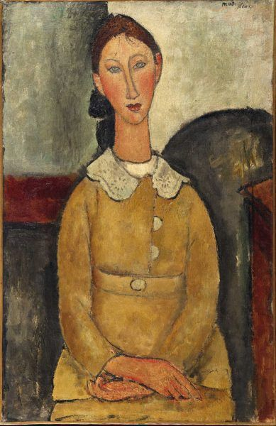 Amedeo Modigliani, Mädchen in gelbem Kleid (Porträt einer jungen Frau mit Kragen), 1917, Öl auf Leinwand, 92 x 60 cm, Signiert oben rechts (Pinacothèque de Paris)