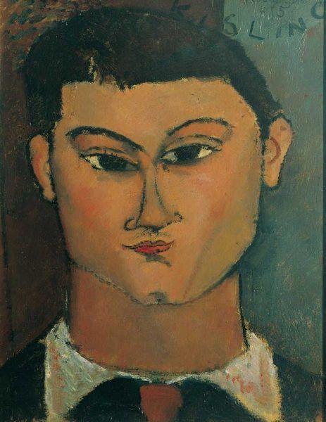 Amedeo Modigliani, Porträt des Malers Moïse Kisling, 1915, 28 x 37 cm, Öl auf Leinwand (Pinacoteca di Brera, Mailand)